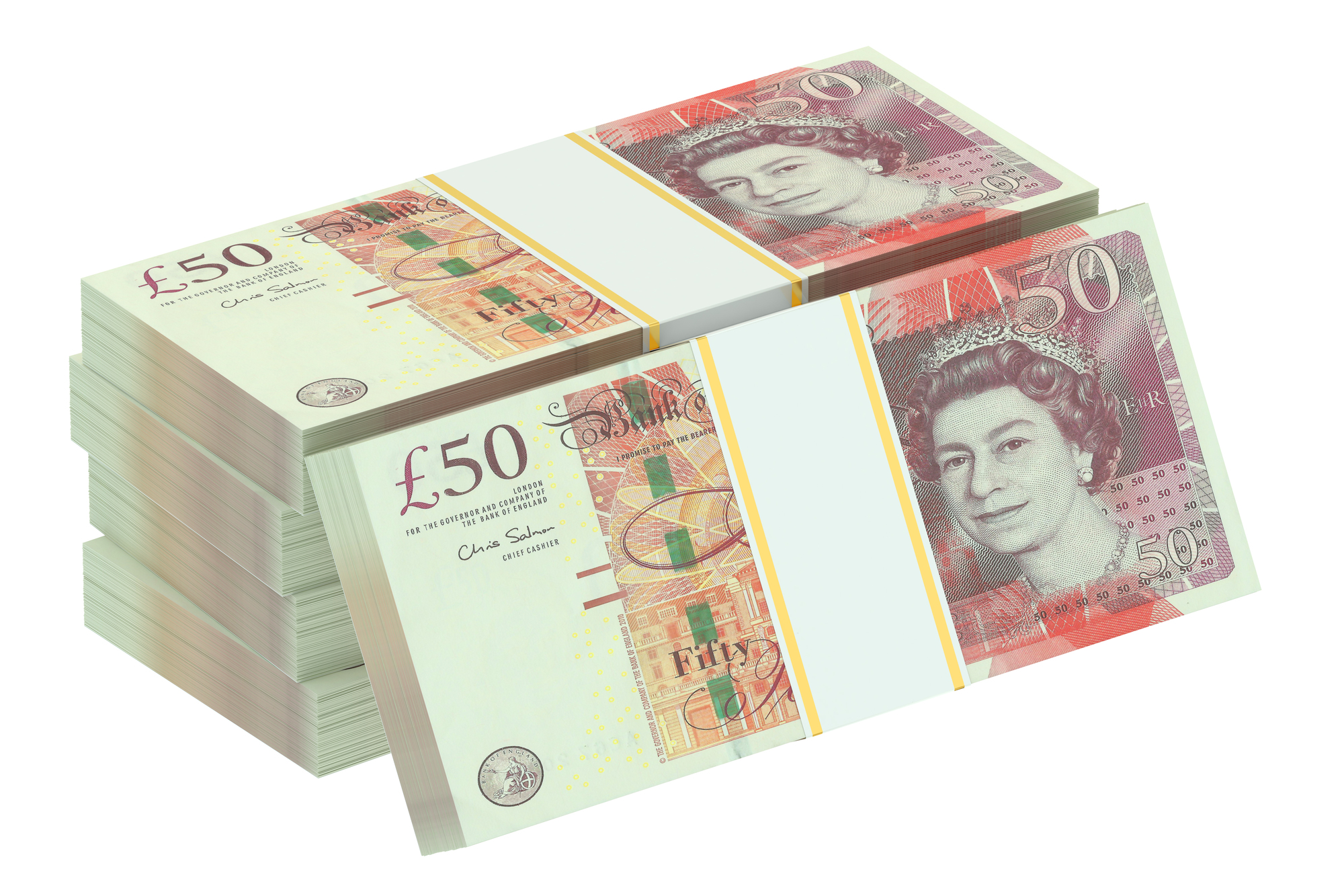 packs of pound sterling, 3D rendering