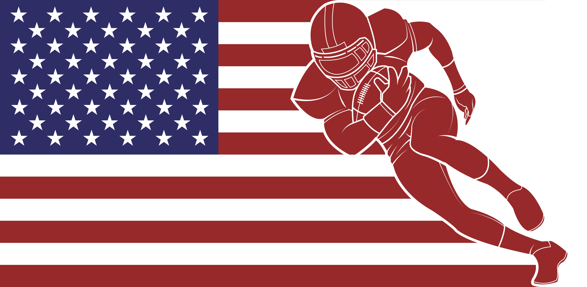 American football running with the ball on flag background.