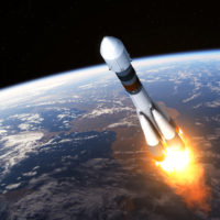 Cargo Carrier Rocket Launch. Realistic 3D Scene.