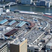 上空から見たかつての築地市場