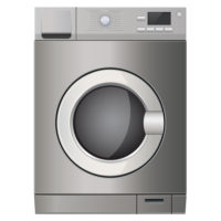 Washing machine. Metallic surface. Vector 3d illustration